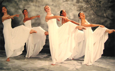students of modern dance perform on stage