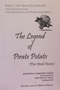 program cover of The Legend of Pirate Potato, year end recital