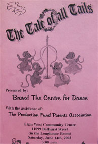 program cover of The Tale of all Tails, year end recital
